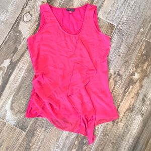Vince Camuto Pink Sleeveless Ruffle Front Blouse